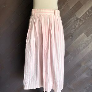 Vintage Pink Striped Midi Skirt